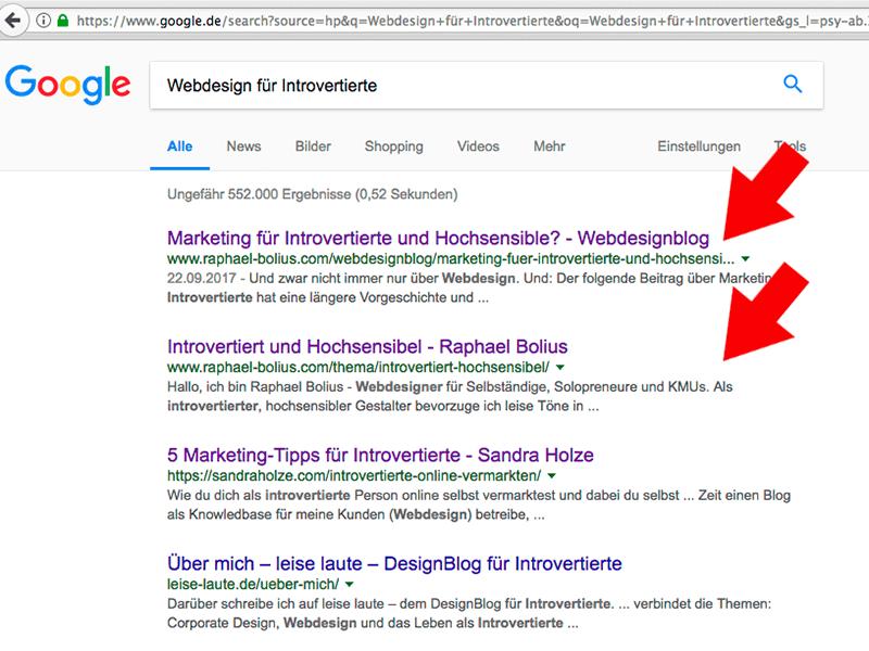 Google-Ergebnis: Webdesign für Introvertierte