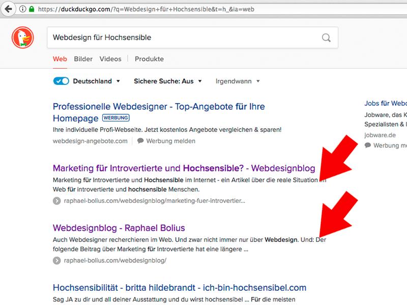 """Ergebnis bei Duckduckgo für """"Webdesign für Hochsensible"""""""