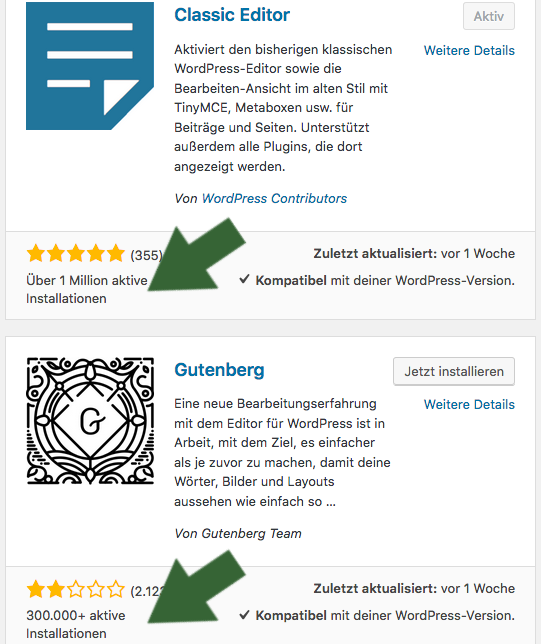 Statistik: Gutenberg-Editor vs. Classic-Editor