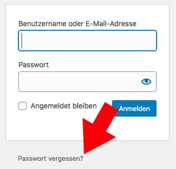 Screenshot: Passwort vergessen in WordPress