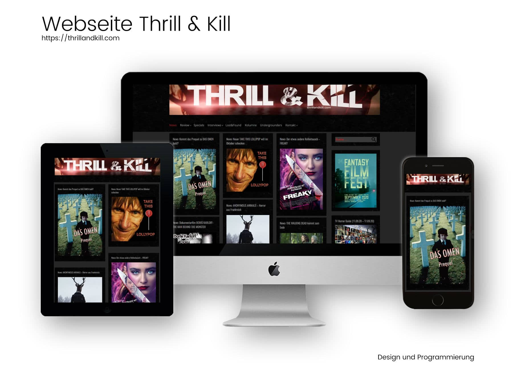 Referenz Webseite Thrill and Kill